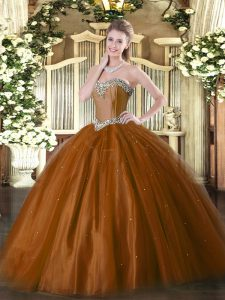 Popular Rust Red Ball Gowns Beading Sweet 16 Dress Lace Up Tulle Sleeveless Floor Length