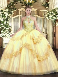 Halter Top Sleeveless Lace Up Vestidos de Quinceanera Gold Tulle
