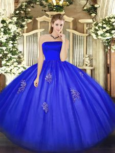 Blue Ball Gowns Appliques Sweet 16 Quinceanera Dress Zipper Tulle Sleeveless Floor Length