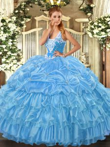 Fitting Ball Gowns Quinceanera Gowns Baby Blue Straps Organza Sleeveless Floor Length Lace Up