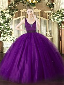 Romantic Beading Quinceanera Dresses Purple Zipper Sleeveless Floor Length