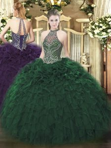 Dark Green Sleeveless Beading and Ruffles Floor Length Sweet 16 Dresses