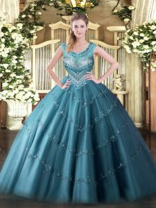 Spectacular Scoop Sleeveless Quinceanera Gowns Floor Length Beading and Appliques Teal Tulle