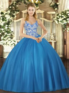 Hot Selling Sleeveless Tulle Floor Length Lace Up Quinceanera Gown in Blue with Beading and Appliques