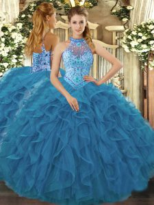 Perfect Halter Top Sleeveless 15th Birthday Dress Floor Length Embroidery and Ruffles Teal Organza