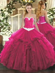 Modest Hot Pink Organza Lace Up Ball Gown Prom Dress Sleeveless Floor Length Appliques and Ruffles