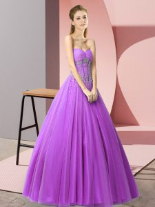 Modern Purple A-line Tulle Sweetheart Sleeveless Beading Floor Length Lace Up Evening Dress