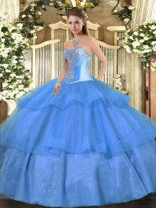 Tulle Sweetheart Sleeveless Lace Up Beading and Ruffled Layers Quince Ball Gowns in Baby Blue