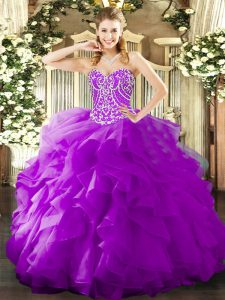 Luxurious Organza Sleeveless Floor Length Sweet 16 Quinceanera Dress and Beading and Ruffles