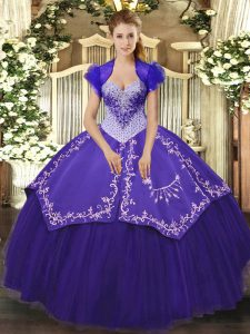 Purple Sweetheart Lace Up Beading and Embroidery Quinceanera Dresses Sleeveless