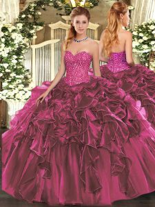 Inexpensive Sweetheart Sleeveless Lace Up Quinceanera Dresses Burgundy Organza