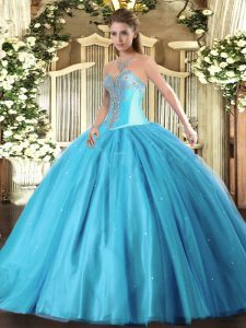 Fashion Aqua Blue 15th Birthday Dress Military Ball and Sweet 16 and Quinceanera with Beading Sweetheart Sleeveless Lace Up