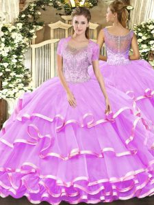 Lilac Ball Gowns Scoop Sleeveless Tulle Floor Length Clasp Handle Beading and Ruffled Layers Vestidos de Quinceanera