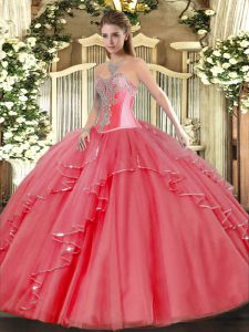 Customized Coral Red Tulle Lace Up 15 Quinceanera Dress Sleeveless Floor Length Beading and Ruffles