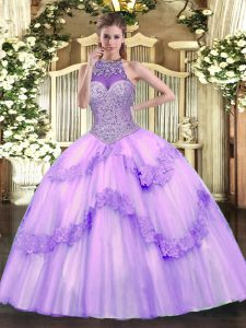 Lavender Quinceanera Gowns Military Ball and Sweet 16 and Quinceanera with Beading and Appliques Halter Top Sleeveless Lace Up