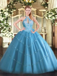 Baby Blue Tulle Lace Up Quinceanera Gowns Sleeveless Floor Length Beading