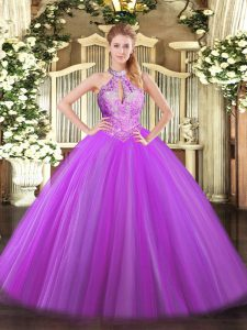 Purple Ball Gowns Halter Top Sleeveless Tulle Floor Length Lace Up Sequins 15th Birthday Dress