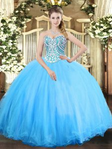 Modern Aqua Blue Ball Gowns Tulle Sweetheart Sleeveless Beading Floor Length Lace Up Sweet 16 Quinceanera Dress