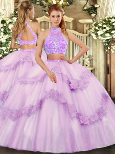 Customized Lavender Two Pieces Beading and Lace and Ruffles Quinceanera Dress Criss Cross Tulle Sleeveless Floor Length