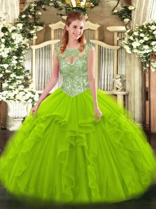 Sleeveless Floor Length Beading and Ruffles Lace Up Sweet 16 Dress