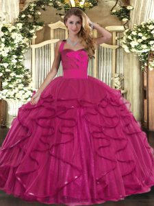 Sleeveless Ruffles Lace Up Quinceanera Dresses