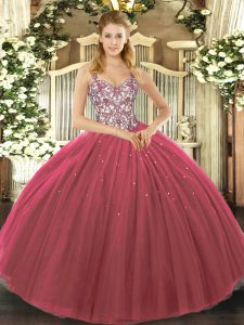 Classical Sleeveless Floor Length Beading and Appliques Lace Up Quince Ball Gowns with Fuchsia