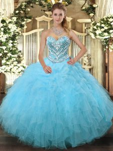 Aqua Blue Lace Up 15 Quinceanera Dress Beading and Ruffles Sleeveless Floor Length