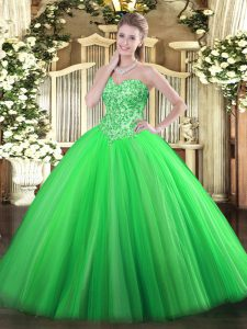 Floor Length Lace Up Quinceanera Gowns Green for Military Ball and Sweet 16 and Quinceanera with Appliques