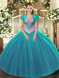 Fabulous Aqua Blue Sleeveless Beading Floor Length Sweet 16 Quinceanera Dress