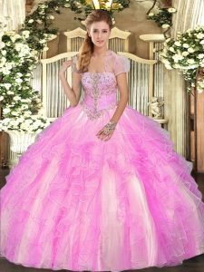 Attractive Floor Length Lilac Quinceanera Dress Strapless Sleeveless Lace Up