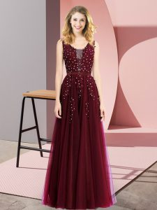 Superior Burgundy Prom and Party with Beading and Appliques Square Sleeveless Backless