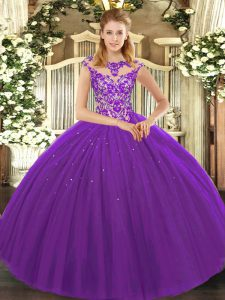 Beauteous Floor Length Lace Up Sweet 16 Quinceanera Dress Eggplant Purple for Sweet 16 and Quinceanera with Beading and Appliques