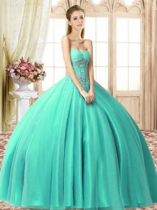 Suitable Sleeveless Lace Up Floor Length Beading Sweet 16 Dress