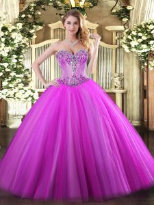 Discount Fuchsia Sweet 16 Quinceanera Dress Sweet 16 and Quinceanera with Beading Sweetheart Sleeveless Lace Up