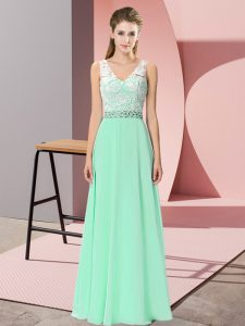 Low Price Apple Green Empire Chiffon V-neck Sleeveless Beading Floor Length Lace Up Prom Party Dress