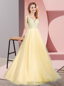 Gold A-line V-neck Sleeveless Tulle Floor Length Zipper Lace Homecoming Dress