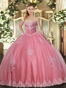 High Class Sleeveless Floor Length Beading and Appliques Lace Up Vestidos de Quinceanera with Watermelon Red