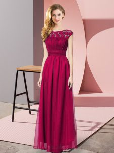 Stylish Fuchsia Zipper Strapless Lace Prom Party Dress Chiffon Sleeveless