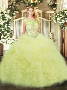 Traditional Yellow Sleeveless Beading and Ruffles Floor Length 15 Quinceanera Dress