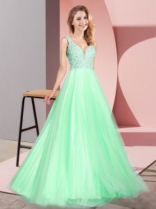 Sexy Apple Green Zipper V-neck Lace Homecoming Dress Tulle Sleeveless