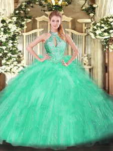 Floor Length Lace Up Ball Gown Prom Dress Apple Green for Military Ball and Sweet 16 and Quinceanera with Beading and Ruffles