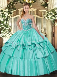 Sleeveless Organza and Taffeta Floor Length Lace Up Quinceanera Dress in Apple Green with Beading and Ruffled Layers