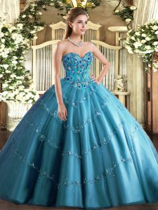 Sleeveless Tulle Floor Length Lace Up Quince Ball Gowns in Teal with Appliques and Embroidery