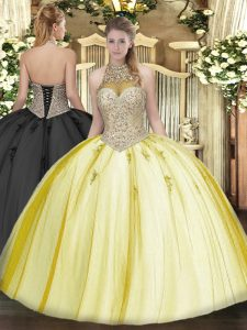 Beading and Appliques Quince Ball Gowns Yellow Lace Up Sleeveless Floor Length