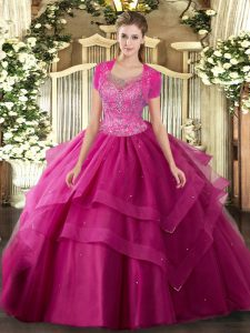 Hot Pink Tulle Clasp Handle Sweet 16 Dress Sleeveless Floor Length Beading and Ruffles