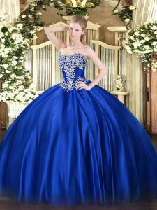 Royal Blue Satin Lace Up Sweet 16 Dress Sleeveless Floor Length Beading