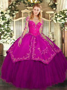 Pretty Fuchsia Lace Up Scoop Lace and Embroidery Sweet 16 Dresses Organza and Taffeta Long Sleeves