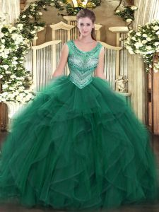Beading and Ruffles Ball Gown Prom Dress Dark Green Lace Up Sleeveless Floor Length