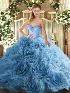 Sweetheart Sleeveless Fabric With Rolling Flowers 15 Quinceanera Dress Beading Lace Up