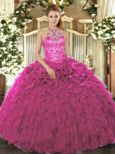 Glorious Sleeveless Lace Up Floor Length Beading and Ruffles Quince Ball Gowns